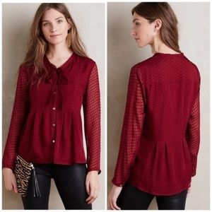 Anthropologie Meadow Rue Red Swiss Dot Blouse